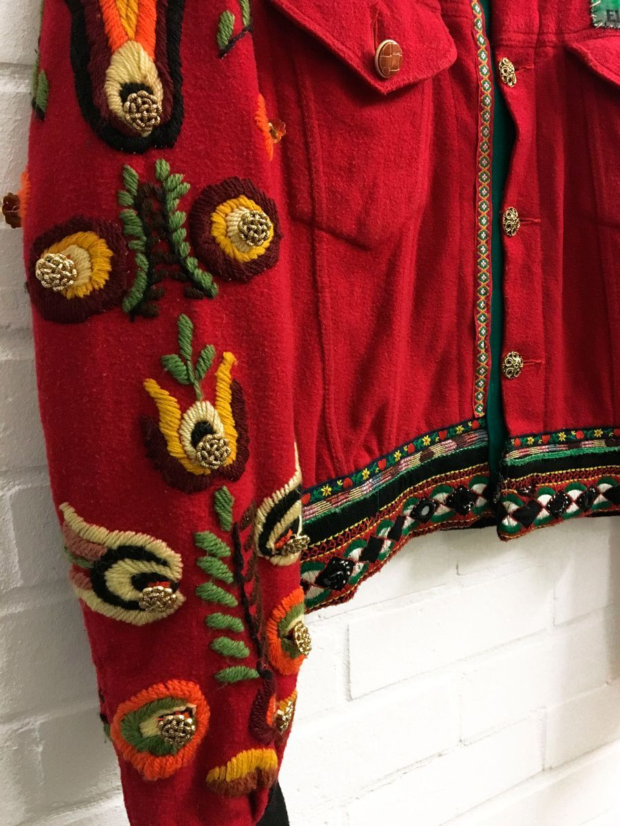 Red Embroidered Jumper Arm Detail